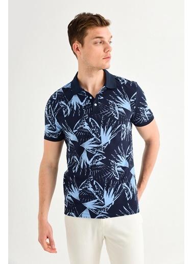 Avva Erkek  Polo Yakalı Baskılı Tişört A01Y1014 Lacivert